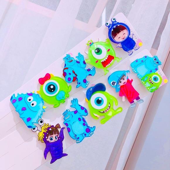 New Monster Inc girls Hair clip set of 10
